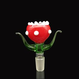 Wholesale Red Type - Red flower glass bowl with male joint for bong bongs water pipes bongs water high quality smoking bowls