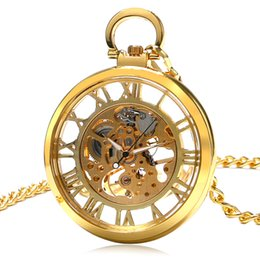 Wholesale Transparent Wound Dressing - Wholesale-Luxury Pocket Watch Glass Case Transparent Hollow Roman Numbers Skeleton Steampunk Hand-Wind Mechaincal 3 Colors Clock Gift