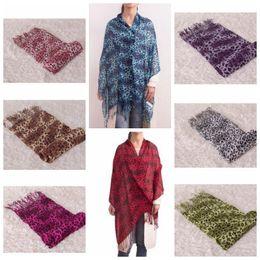 Wholesale leopard scarfs - leopard print scarves shawls fashion Winter Femme Scarves Shawl Pashmina Lady's Scarf Wraps with Fringe KKA2629