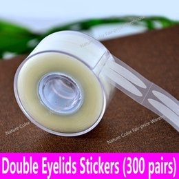 Wholesale Double Eyelid Tape Roll - Wholesale- 300 pairs Natural Color Double Eyelid Tapes Eyelids Stickers Eye Makeup Paste Fishnet Darker Skin 600pcs Roll DIY Beauty Tools