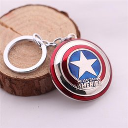Wholesale Keychain Packaging - captain america keychain Marvel Super Hero The Avengers S.H.I.E.L.D. Shield Metal Keychain Pendant Key Chains with package