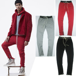 Wholesale High Fashion Mens Clothes - High quality 2017 new casual menswear 90S fashion mens red side zipper pants joggers plus size urban clothing sweatpants