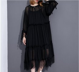 Wholesale Bohemian Dress Silk Chiffon - 2017 Summer Fashion New Round Collar Large Size Solid Color Mid-length Paragraph Lace Hem Chiffon Dress V02500