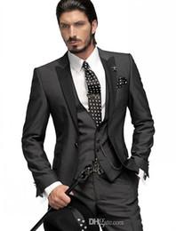 Wholesale charcoal grey wool suit - Slim Fit One Button Groom Tuxedos Charcoal Grey Best Man Peak Black Lapel Groomsmen Men Wedding Suits Bridegroom (Jacket+Pants+Vest)