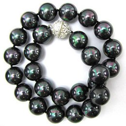 """Wholesale south china sea black pearls - 10mm Multicolor Black South Sea Shell Pearl Round Beads Necklace 18"""" AAA"""