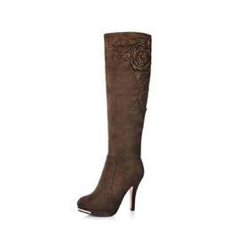 Argentina Nuevas botas de mujer de moda Flock Leather Knee-High Spike Heels rebordear sexy lady botas largas Sólidas botas de invierno de la motocicleta caliente supplier spike heel boot knee leather Suministro