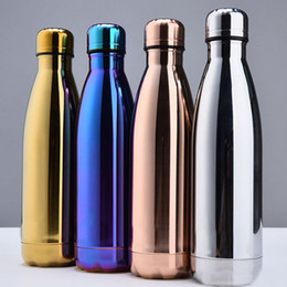 Wholesale Drinking Bottles - 2017 Water Cup Insulation Mug 500ML Vacuum Bottle Sports 304 Stainless Steel Cola Bowling Shape Travel Mugs 4 Color Free DHL WX-C19