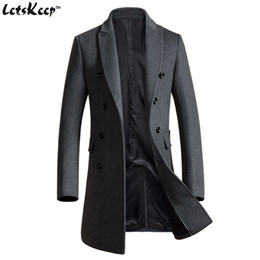 Wholesale Long Business Coats For Men - Wholesale- Letskeep 2017 New Winter woolen long peacoat men slim fit Double breasted overcoat mens warm business trench coat for men, MA3