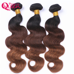 Wholesale Omber Hair Extensions - #1B 4 30 Color Omber Brazilian Body Wave Hair Weaves Ombre Virgin Human Hair Extensions 3 Bundles Brazilian Human Hair Free Shipping
