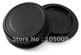 Wholesale Dslr Lens Cover - Wholesale-Rear Lens Cap   Cover+Camera Body Cap for PENTAX DSLR PK