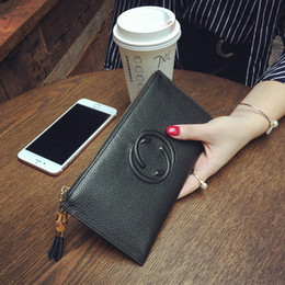 Wholesale Black Bag Tassels - New women tassel Genuine leather long style zipper cow leather wallet lady fashion thin style purse phone bag no134