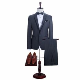 Wholesale Grey Dress Suits - 2017 new fashion men suits business brand men's jacket slim wedding dress suit jacket and pants three color optional
