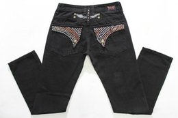 Wholesale Cheap Plus Size Trouser Jeans - Cheap Biker Jeans Men with Wings Flag Jeans Straight Denim Cowboy Crystals True Fashion Rhinestone Mens Jeans Trousers Fried Snow Pants