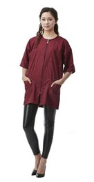 Peluqueria roja online-Ropa de salón de cabo de corte de pelo rojo blanco negro con cremallera