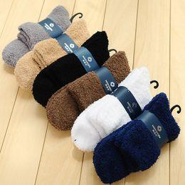 Wholesale Winter Sleeping Socks - Wholesale- Extremely Cozy Cashmere Coral Velvet Wool Floor Socks Men Winter Warm Sleep Bed Home Fluffy Newest