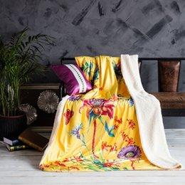 Wholesale Home Lamb - Flowers Fashion brands, distinctive style of blankets, multi-function digital printing crystal lamb blanket Bohemia style,Flowers design