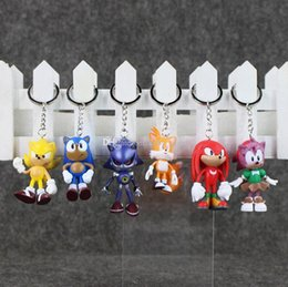 Wholesale Sonic Hedgehog Wholesale - EMS 5-6.5cm Anime Sonic The Hedgehog Keychain PVC Action Figure Toy Pendant Model Toy Free Shipping