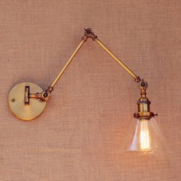 Wholesale Brass Lamp Arms - Brass Antique Loft Vintage Wall Light Glass Swing Long Arm Wall Lights Fixtures Industrial Retro Wall Lamp Edison Appliques LED