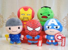 Wholesale Spiderman Charms - 5 Styles Avengers plush dolls toys Keychain Captain America Iron Man Spiderman plush dolls Charm Pendant plush toys