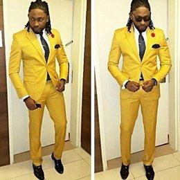 Мужские желтые костюмы онлайн-Красивый Желтый Свадебные Мужчины Смокинги 2018 Из Двух Частей Одна Кнопка Женихи Мужские Костюмы Новый (Куртка + Брюки)