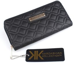 Wholesale Grade Fashion Purses - Fashion KK Wallet Long Design Women PU Leather Kardashian Kollection High Grade Clutch Bag Zipper Coin Purse Handbag