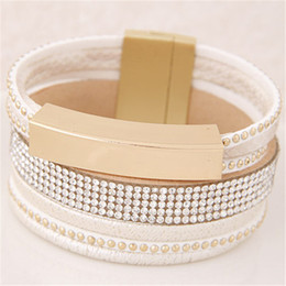 Wholesale Bracelet Summer - Wholesale-2016 New Summer Style Women Wide Bracelet Punk Metal Pu Leather Wristband Cuff Bracelets Bangles For Women Jewelry Pulseiras