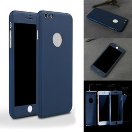 Wholesale Iphone Cellphone Cases - Color cellphone case for iphone 5s 6s 6plus 7 plus Ultra-thin 360 Degree Full Cover Protective Cases with Tempered Glass Screen Protector