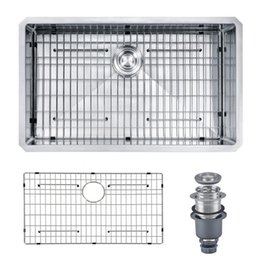 "Wholesale Undermount Stainless Kitchen Sinks - [From USA] 30""x18""x10"" Handcrafted 16-Ga Stainless Steel Undermount Single Bowl Modern Kitchen Sink for Home Improvement with Grid & Drainer"