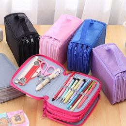 Wholesale Stationery Pencil Box - Wholesale-Pencil case large 72 holes Art pen color pencil box Stationery storage bag Cosmetic make up brush organizer bag school supplies