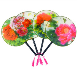 Wholesale Wholesale Fabric Hand Fans - Round Palace Chinese Silk Fans Wedding Party Birthday Favor Adult Ladies Handle Hand Held Fan Ethnic Dance Show Props