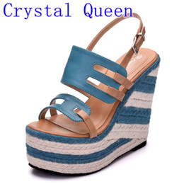 Wholesale Ladies Suede Platform Wedge Shoes - Crystal Queen Summer Style Women Wedge Sandals Fashion Open Toe Platform Extra High Heels Sandals Ladies Casual Shoes