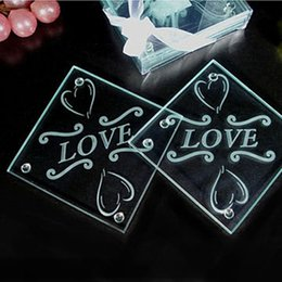 Wholesale Glass Party Favor Coasters - Europe Flower Design Glass Coasters Wedding Table Decoratons Letter Love Cup Pad Mat Return Gift Free Shipping ZA3544