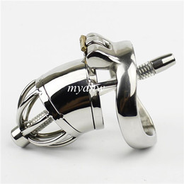 Wholesale Bdsm Steel Lock - NEW Stainless Steel Small Male Chastity Cage With Arc-Shaped Cock Ring Urethral Catheter Chastity Device For Men Penis Lock BDSM Sex Toys