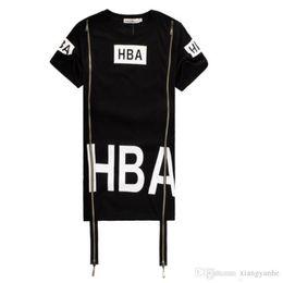 Wholesale Women Long Shirts Hoods - New Hip Hop Shirt Men Women Tshirts Streetwear Camisetas HBA Hood By Air Side Zipper T-Shirt HBA Clothes Been Trill Kanye Tyga Shirt