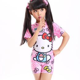 Wholesale Wholesale Toddler Girls Bathing Suit - Wholesale- 2017 Baby girl one piece swimsuit bow kids bikini set cartoon children swimming toddler beach clothing with hat bathing suit