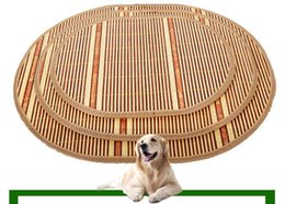 Wholesale Dog Kennel Cushions - Summer Sleeping Mat Puppy Cushion Bamboo Weaving Kennel The Cat Cage Villa pet bed dog cat houses Free Shipping