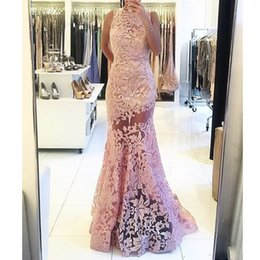 Wholesale Wedding Dress Crystal Beading Designs - 2017 Evening Gowns Free Shipping Simple Design Pink O Neck Sleeveless Backless Mermaid Sheer Lace Prom Dresses