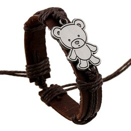 Wholesale Bear Sign - Europe and America alloy sign little bear bracelet fashion jewelry unisex Genuine leather charm cowhide bangle wholesale