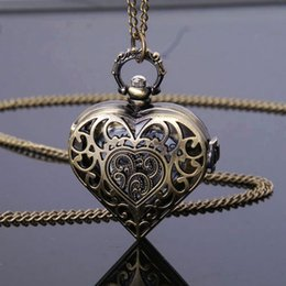 Wholesale Heart Shaped Watch Necklace - Wholesale-Bronze Hollow Quartz Heart-shaped Pocket Steampunk Watch Necklace Pendant Chain Women Gift P71