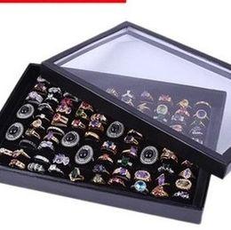 Bandeja de jóias caixa de toque on-line-Exibição de jóias Embalagem 100 Slot Veludo Preto Brinco Stud Bangle Anel Caixa De Armazenamento Bandeja Organizador Caso Venda Quente 5sr J R