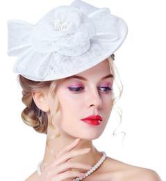 2017 moda vintage Britânico retro senhoras chapéus de linho chapéus jantares banquetes festas vestidos de noiva chapéus de noiva headband de