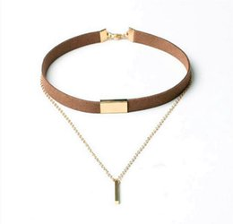 Wholesale Titanium Necklace Brown - New European and American alloy pendants leather leather necklace black brown cashmere metal fashion clavicle chain