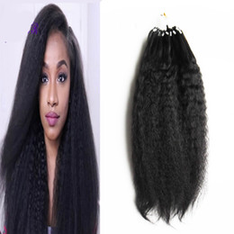 Wholesale Extension Human Hair Curly Micro - Brazilian yaki human hair Micro Loop Human Hair Extensions 100g kinky straight micro loop hair extensions