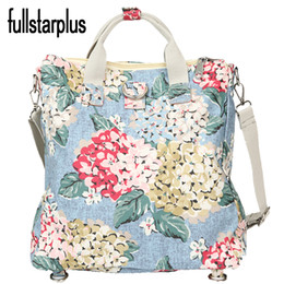 Wholesale Girls Fashion Imported - Wholesale- Quality Floral Imported Nylon Women One Shoulder Bags portable Shopping Bag School CUTE Girl Laptop Bag Printing Free Shipping