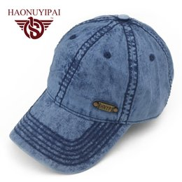 Wholesale Bone Jeans - Wholesale- Hot Sale Mens Baseball Caps Brand Womens Jeans Denim Hats Blue Adjustable Adult Bone Snapback Cap Casual Outdoor Sun Hats