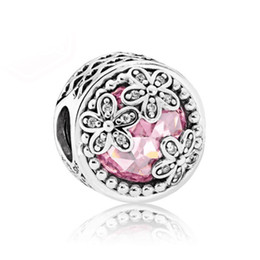 Wholesale Glass Silver Sterling - 925 Sterling Silver Bead Charm Openwork Dazzling Daisy Meadow With Crystal Beads Fit Women Pandora Bracelet Bangle DIY Jewelry HK3756