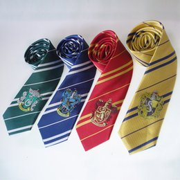 может краситель полиэстер Скидка Новый Гарри Поттер шеи галстуки Гриффиндор Слизерин Равенкло Хаффлпафф значок нашивки галстуки Гарри Поттер значок взрослых галстук Бесплатная доставка WX-T01