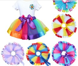 Wholesale Colorful Fishnet - Festival Children's stage skirt high-quality rainbow colorful kilt performance dress sheer skirt tutu skirt for 2-8 years old girls