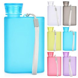 Wholesale Plastic Frosted Cups - Plastic Hip Flasks 400ML A5 Flat Paper Cup Frosted Unbreakable Outdoor Sports Camping Bottle Mugs Paper Bottle OOA2270