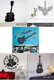 Wholesale Guitar Wall Decorations - Vinyl Art Guitar Wall Stickers Home Decor DIY Home Decorations Music Wall Decals Living Room